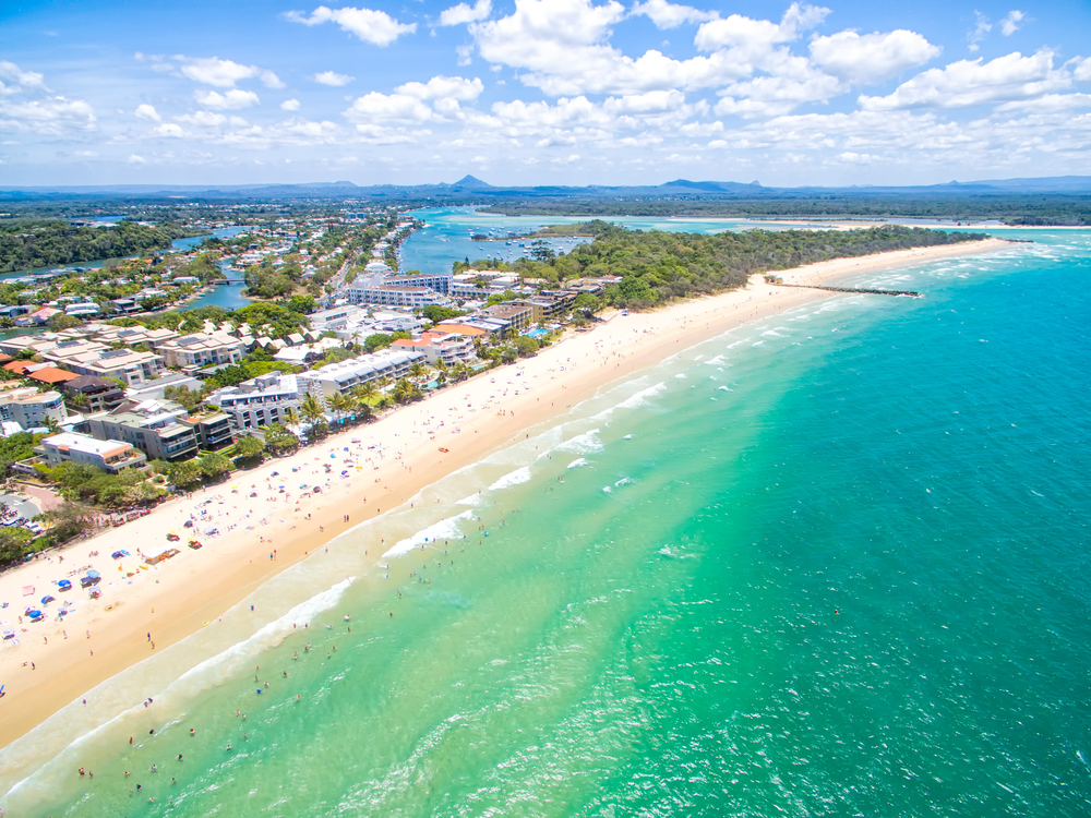 An aerial view of Noosa on Queensland's Sunshine Coast, Australia