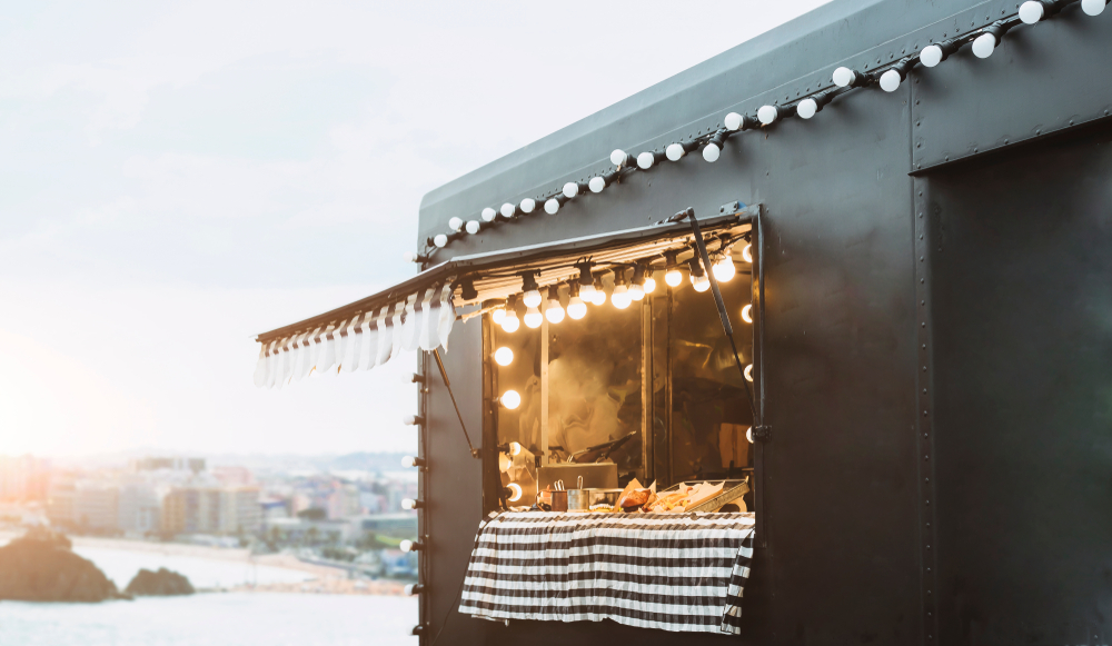 Food truck background street food business concept